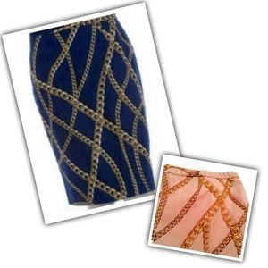 Pink + Gold Filigree Chain Print Pencil Skirt